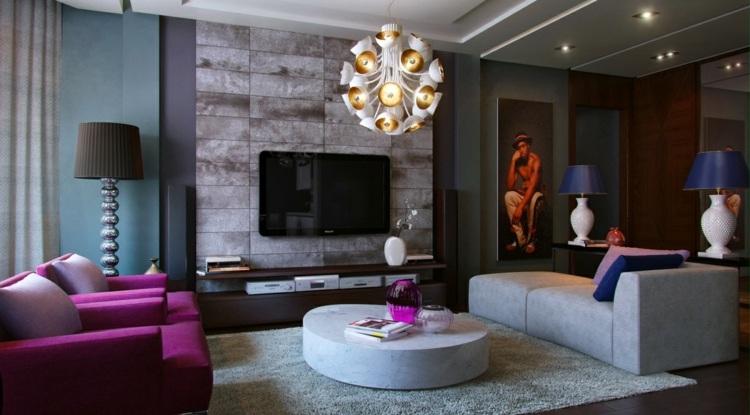 combinar colores violeta elegante lampara