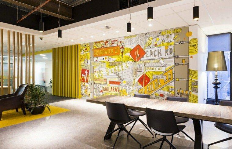 comedor moderno amplio colores amarillos pared ideas