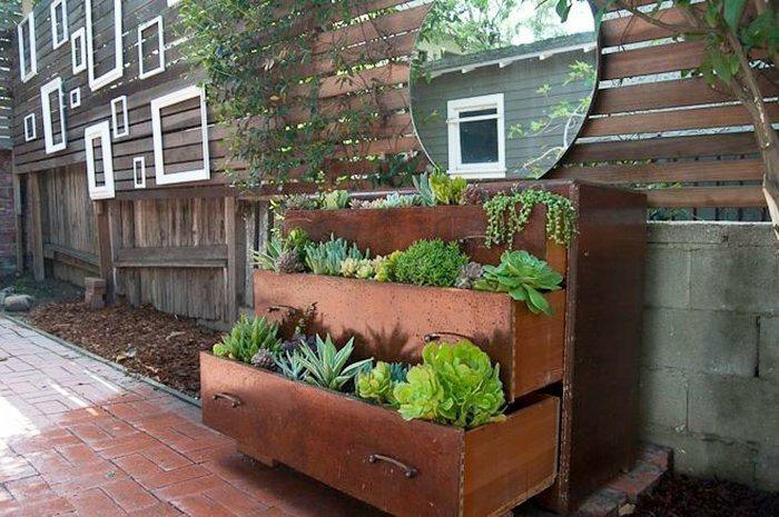 comoda tres cajones plantas madera