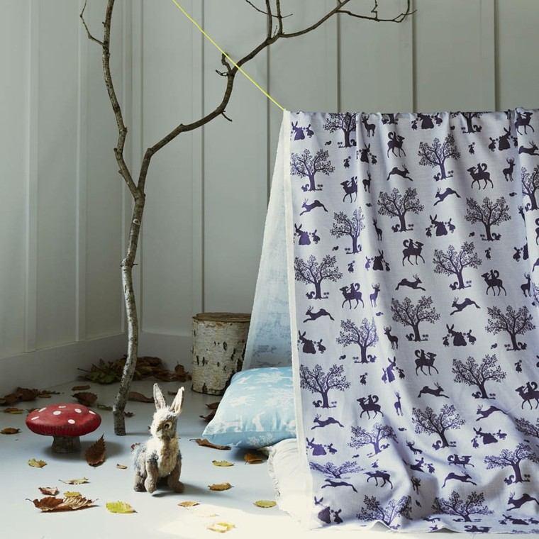 conejo tronco habotacion venado ramas