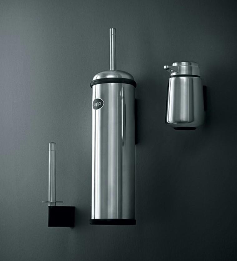 conjunto accesorios metal pared baño