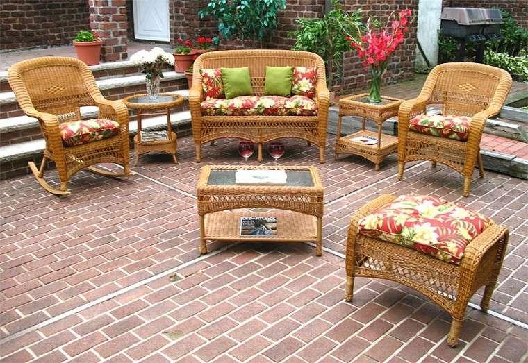 conjunto muebles mimbre estilo clasico