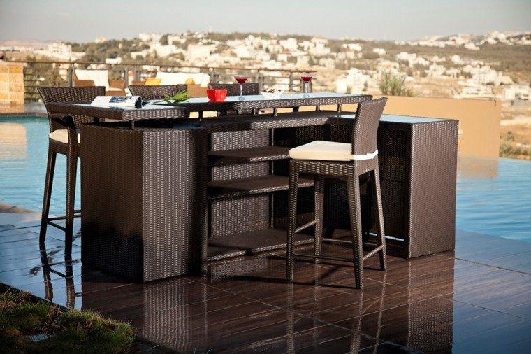 conjunto muebles bar rattan marrón