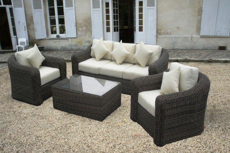 conjunto muebles jardin rattan gris