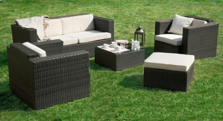 conjunto muebles mimbre negro jardin