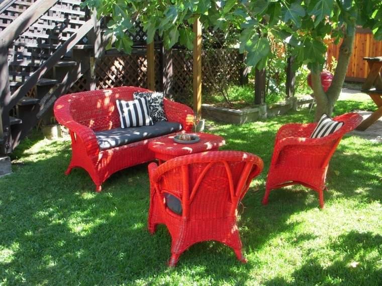 conjunto muebles rattan color rojo