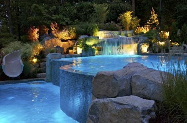 construccion de piscinas mosaico azul