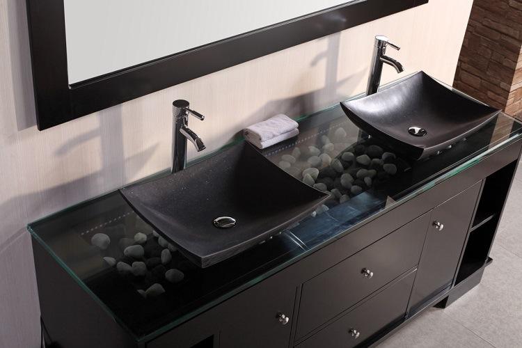 contraste lavabo negro moderno
