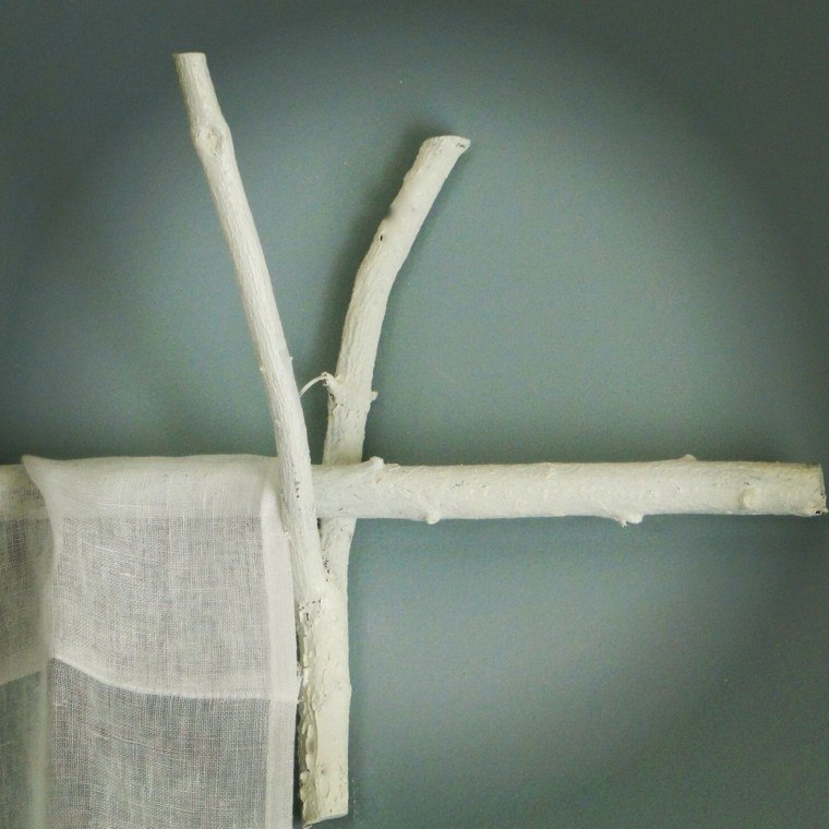 cortina soporte diy blanco madera