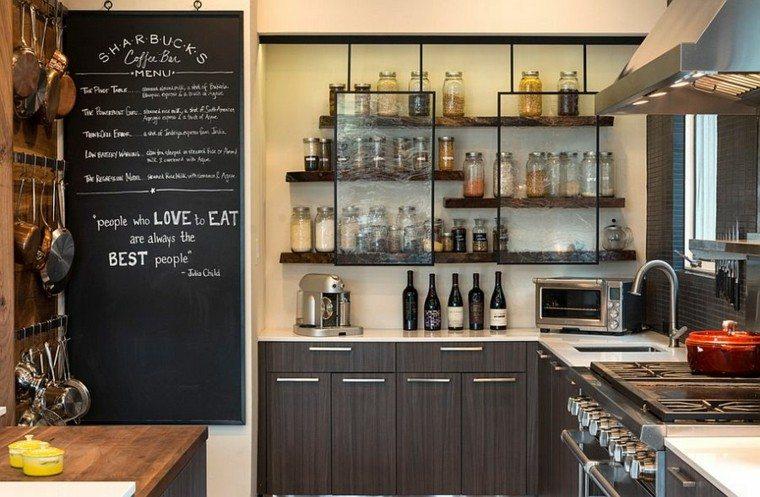 cristal delante estantes abiertos estilo industrial cocina ideas