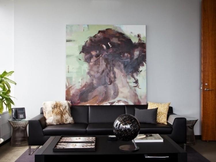 cuadro arte moderno sofa cuero negro salon ideas