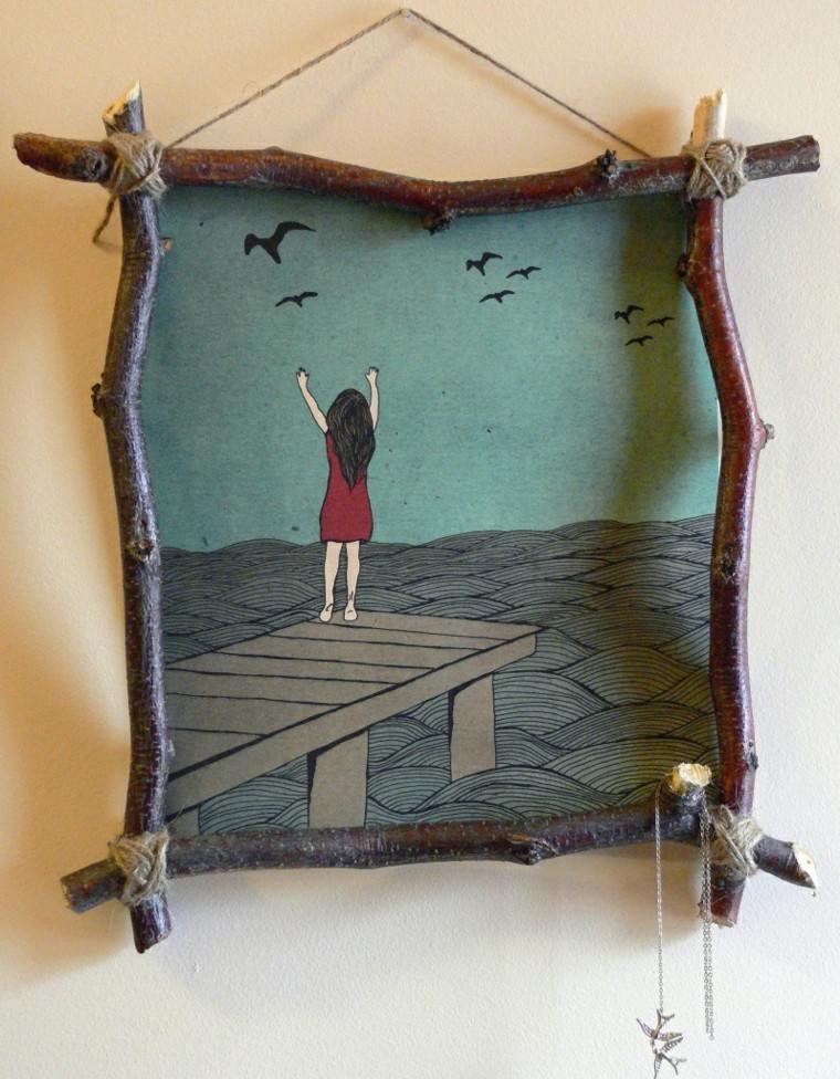 cuadro madera niña mar cuerdas