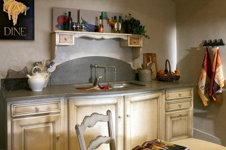 cuadro pequena cocina frutas campestre