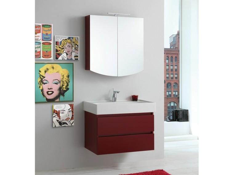 cómo decorar un baño cuadros arte pared moderno lavabo rojos ideas