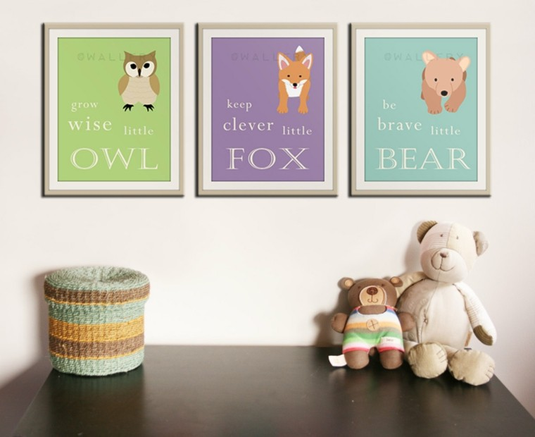 cuadros decoracion cesto osos colorido