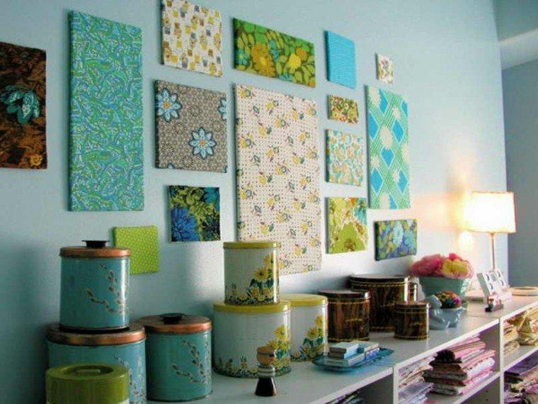 cuadros flores tela decoracion azul