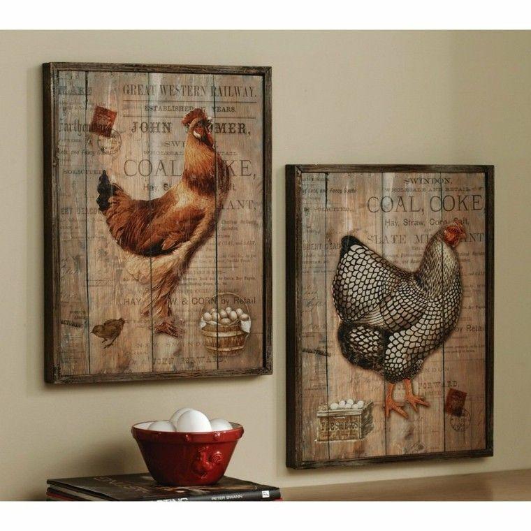cuadros gallinas ponedoras madera decoracion