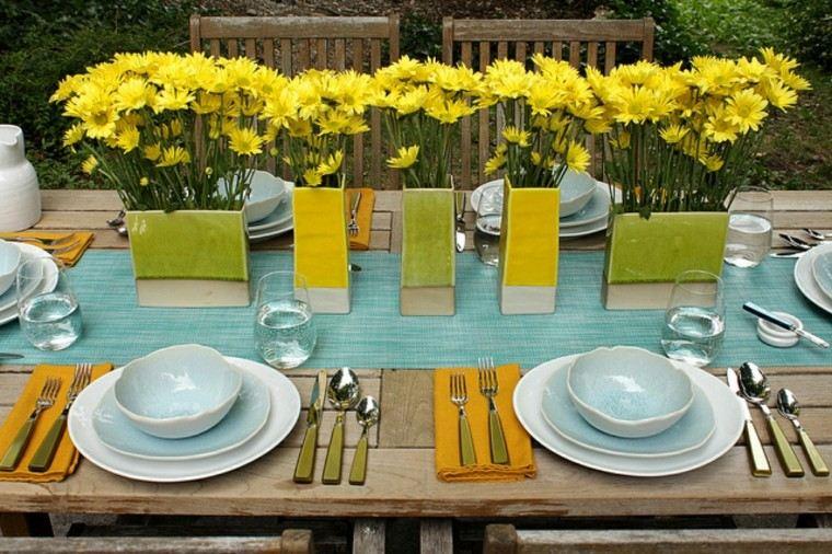 decoracion mesa flores amarillas