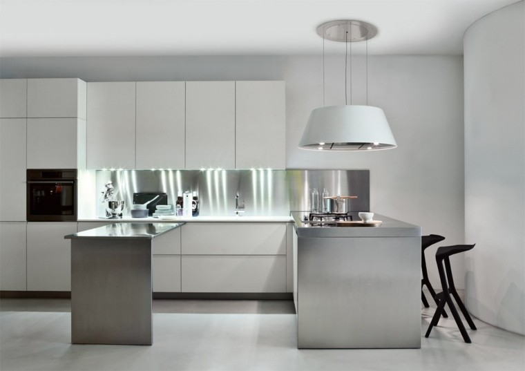 decoración cocina muebles metal resistentes ideas