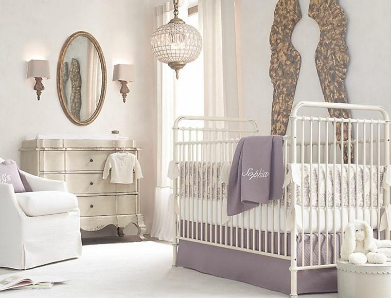 decoracion de bebe blanca cuna moderna