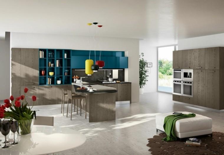 decoración interiores cocinas amplia estantes ideas