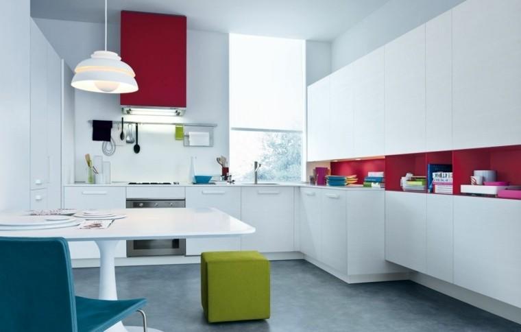 decoración de interiores cocinas campana roja ideas