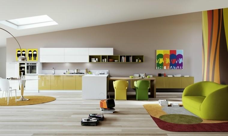 decoración de interiores cocinas colores vibrantes ideas