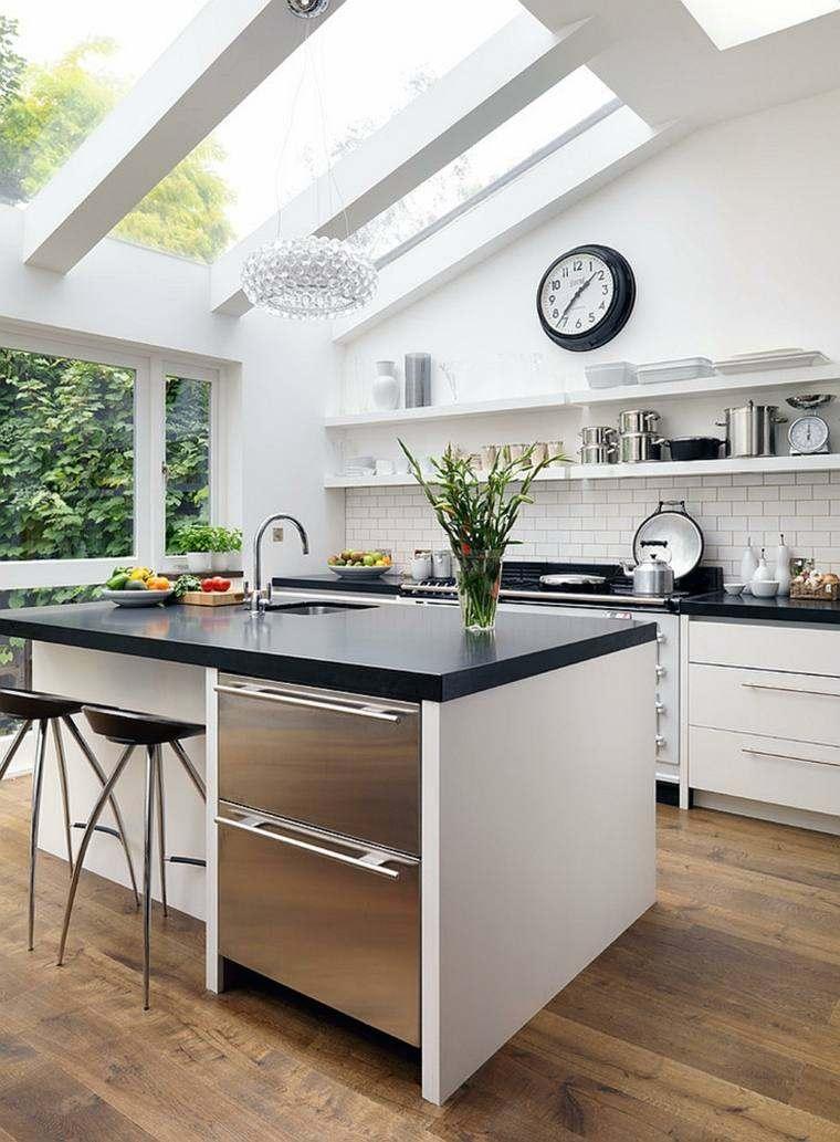 decoración de interiores cocinas isla encimera negra ideas