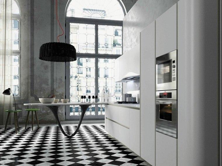 decoración de interiores cocinas mesa moderna ideas
