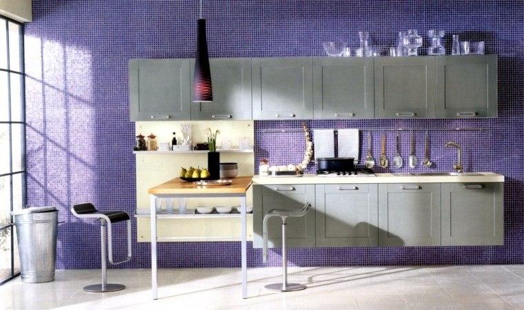 decoración interiores cocinas mosaico purpura ideas