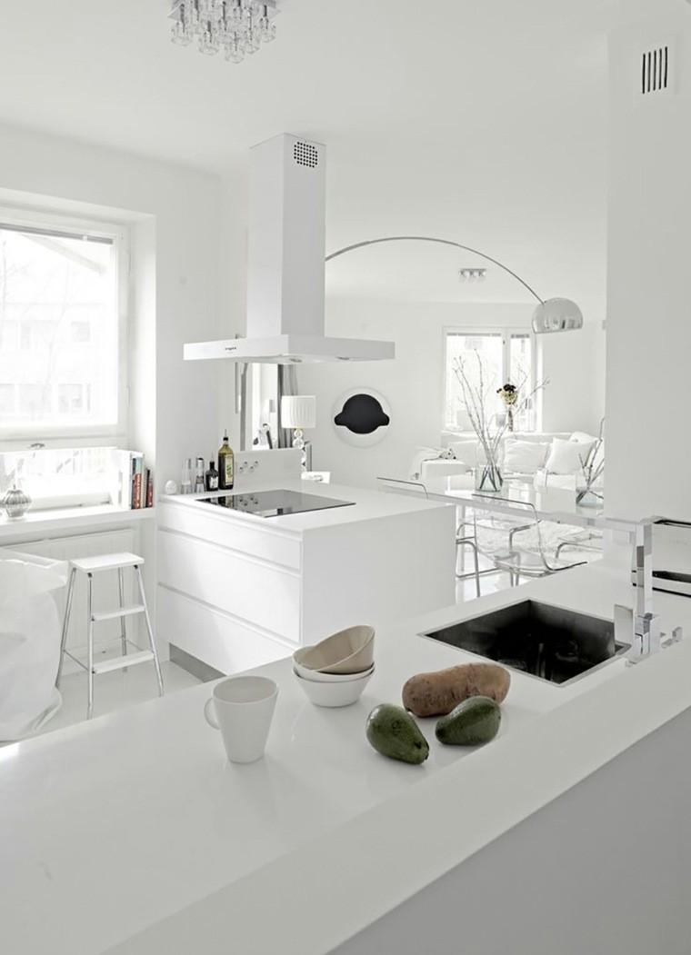 decoración interiores cocinas muebles paredes blancos ideas