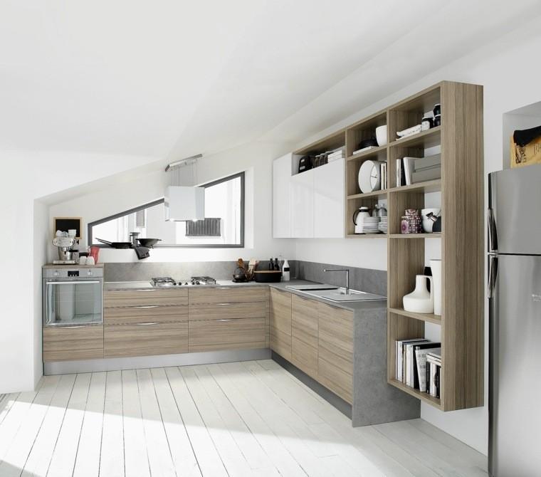 decoración interiores cocinas pequenas suelo madera ideas