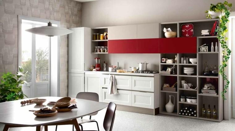 decoración interiores cocinas rojo llamativo ideas