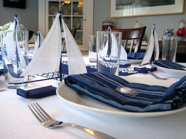 decoración náutica mesa comida barcos ideas