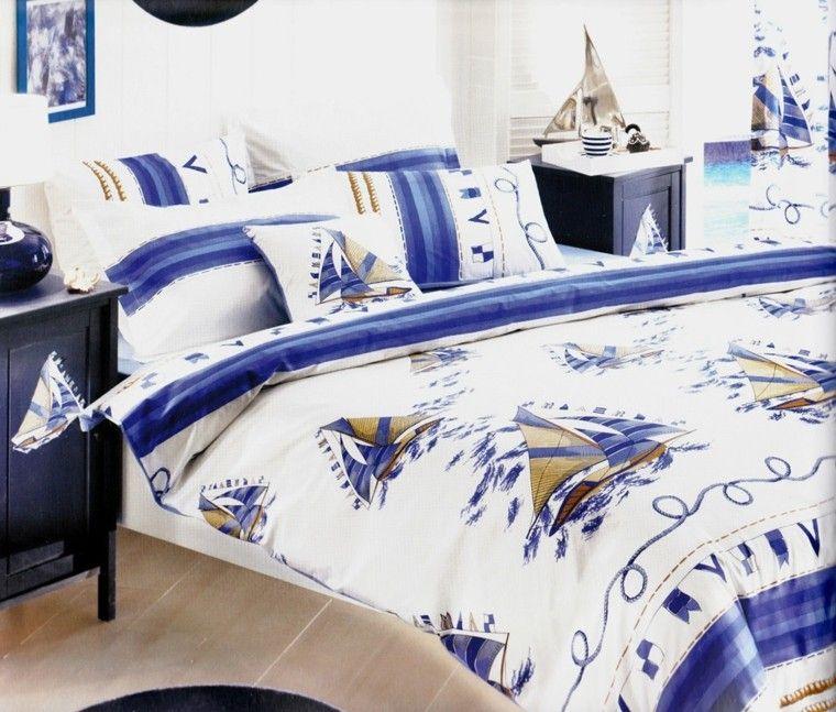 decoración náutica ropa cama estampado barcos ideas