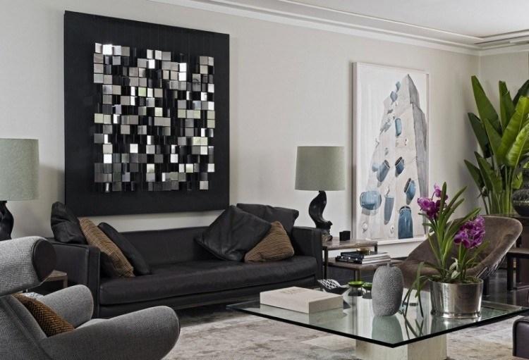 decoracion preciosa original pared sofa cuero negro salon moderno ideas