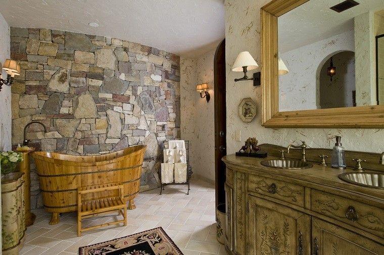 Dise o ba os rusticos y creatividad m s de 50 ideas - Decoracion de paredes con piedra ...