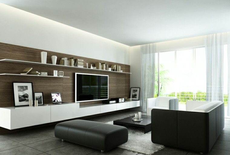 decorar salon muebles marron pared