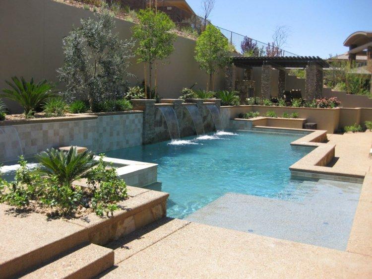 días jardin piscina fuentes verano ideas
