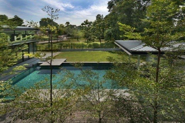 diseño piscina estilo moderno jardin