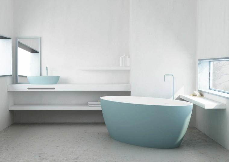 diseño baño muebles bañera celeste