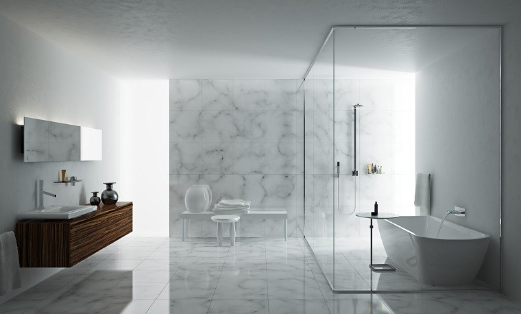 diseño para baño marmol blanco