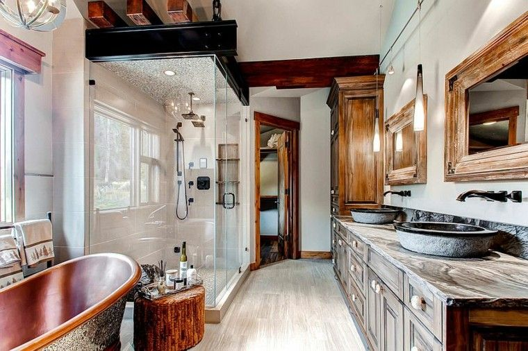 diseño baños rusticos atractivo madera iluminacion