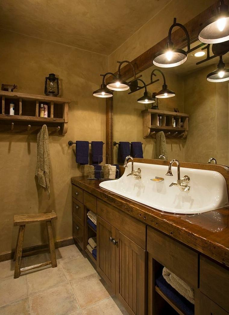 diseño baños rusticos acogedor calido lavabo