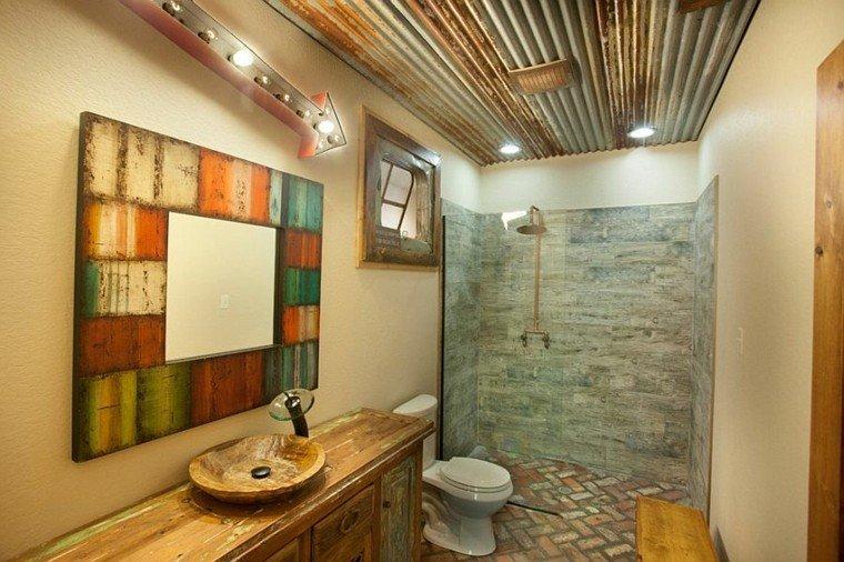 diseño baños rusticos acogedor rocas led