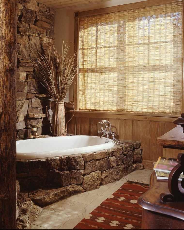 diseño baños rusticos alfombra suelo rocas