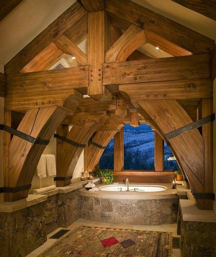 diseño baños rusticos arco techo ventana