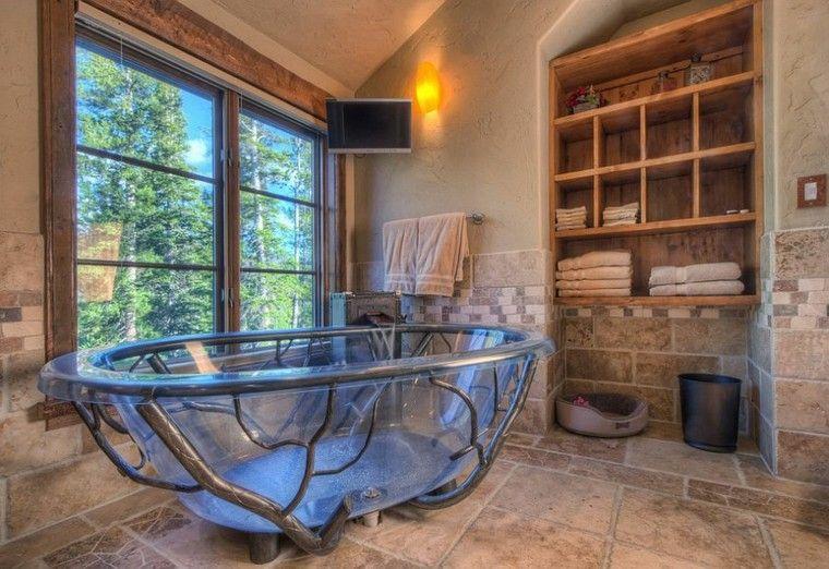 diseño baños rusticos banera diseno moderna