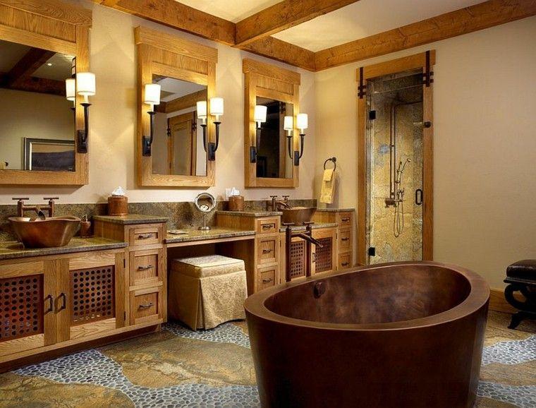 Baño General En Tina:Diseño baños rusticos, toque distintivo con bañera hecha a mano