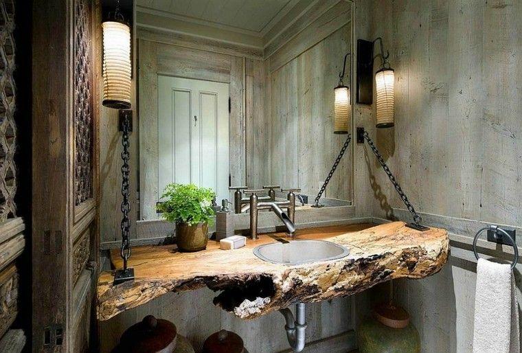 diseño baños rusticos encimera cadenas madera
